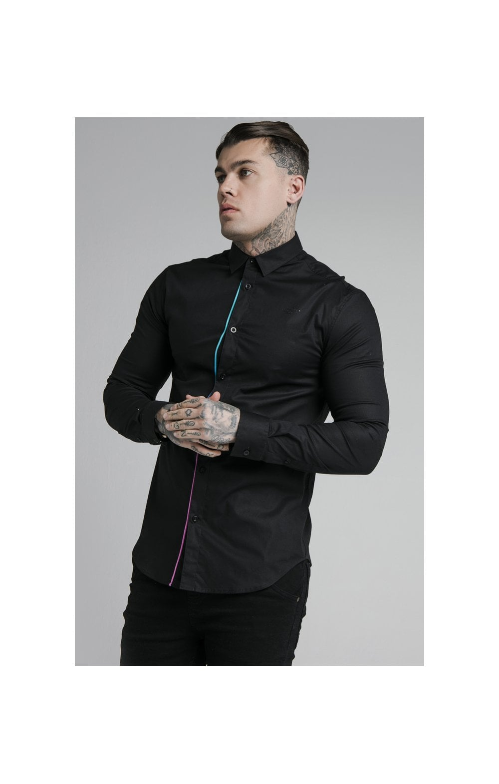 Load image into Gallery viewer, SikSilk L/S Fade Piping Shirt - Black & Neon Fade (1)