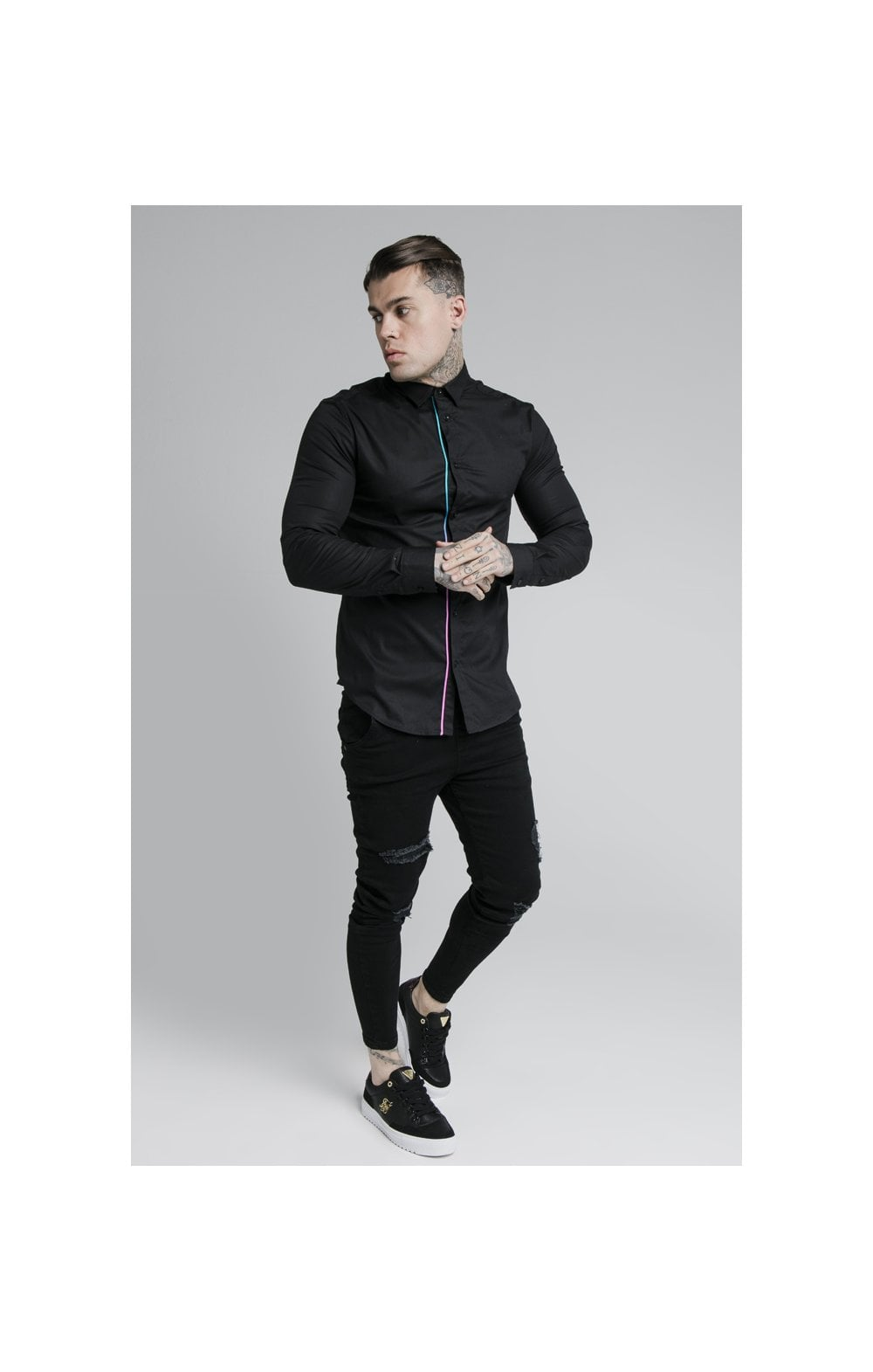 Load image into Gallery viewer, SikSilk L/S Fade Piping Shirt - Black & Neon Fade (2)