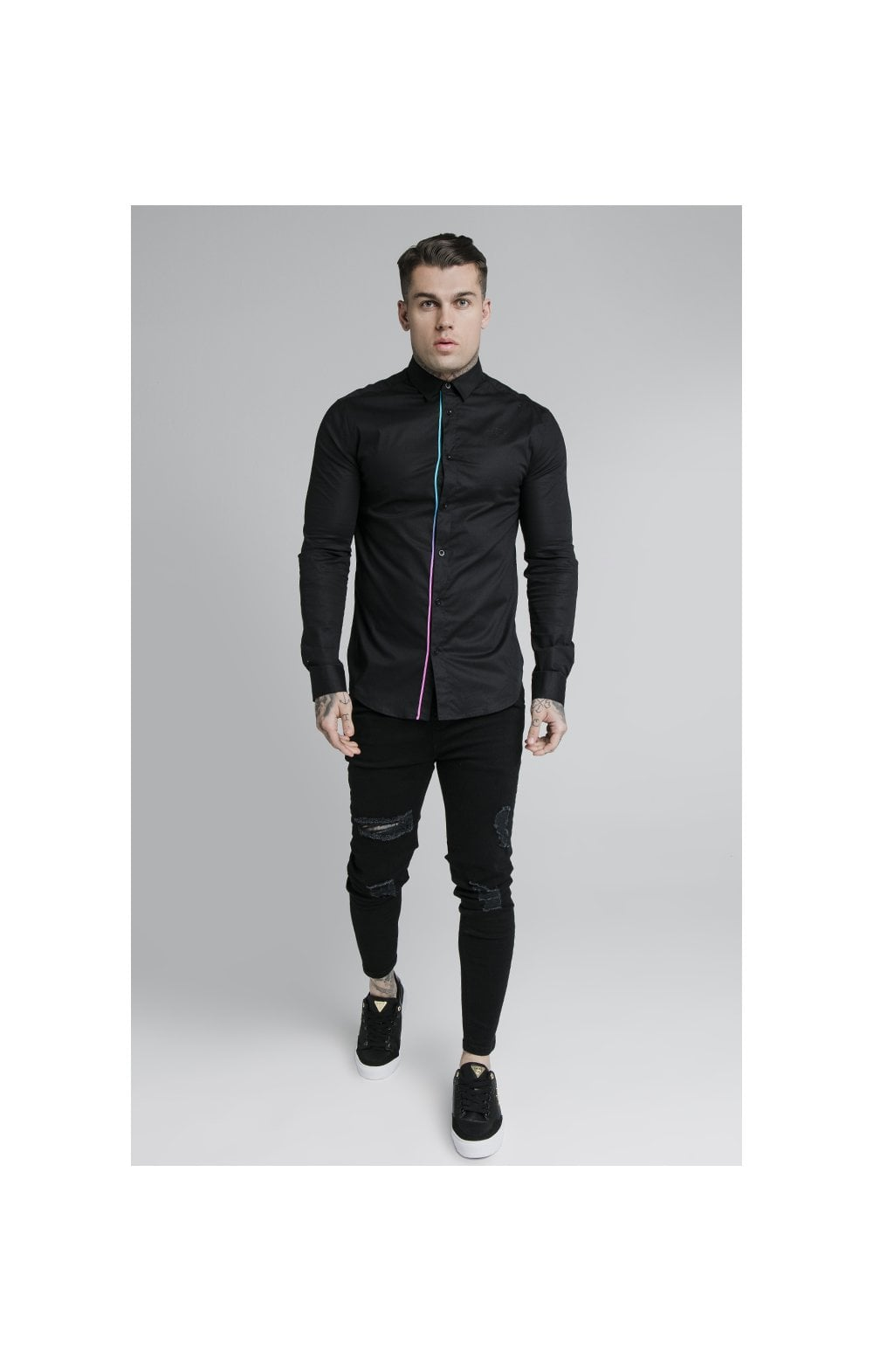 Load image into Gallery viewer, SikSilk L/S Fade Piping Shirt - Black & Neon Fade (3)