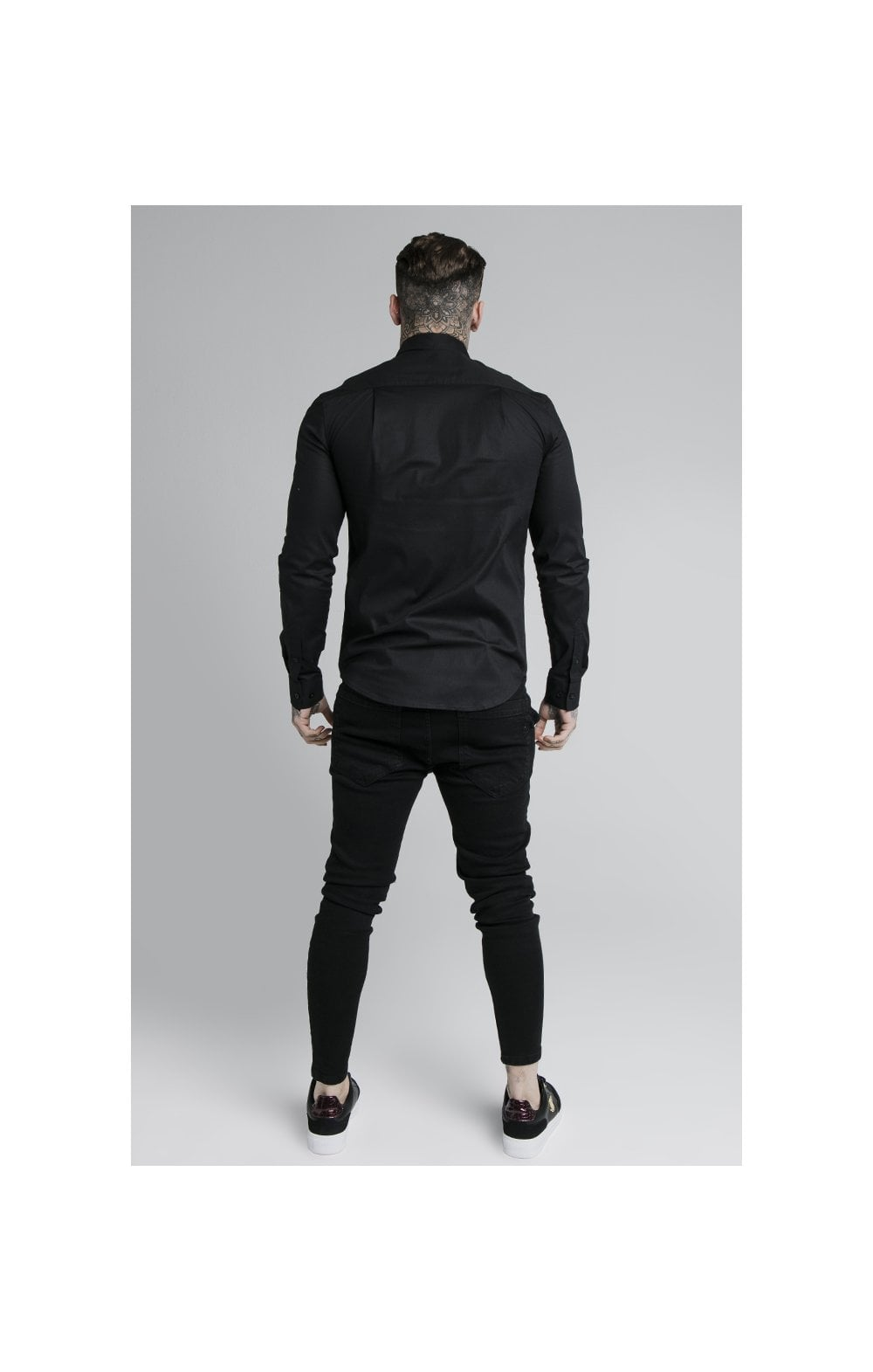 Load image into Gallery viewer, SikSilk L/S Fade Piping Shirt - Black & Neon Fade (5)