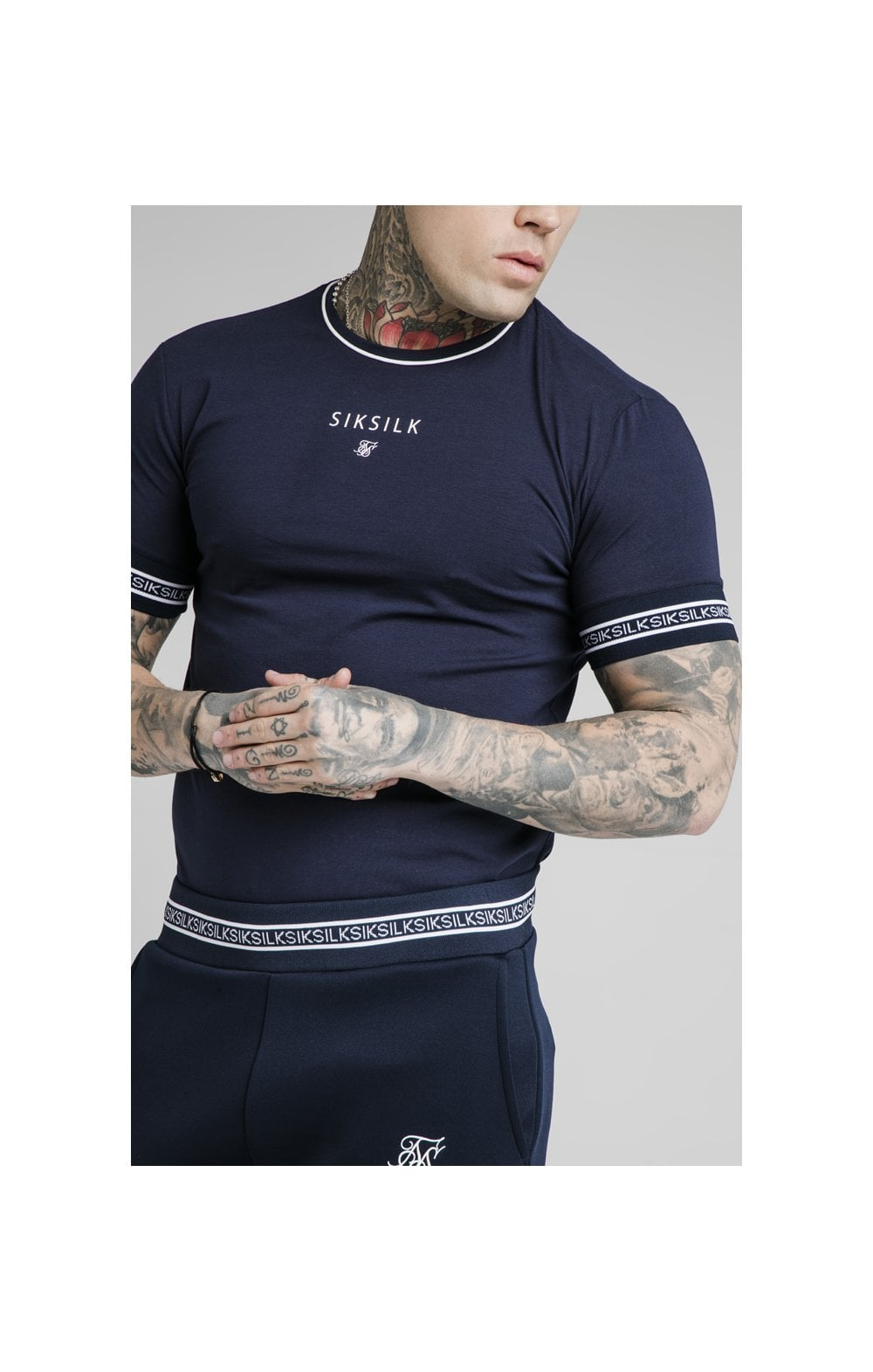 Load image into Gallery viewer, SikSilk Element Straight Hem Gym Tee – Navy & White