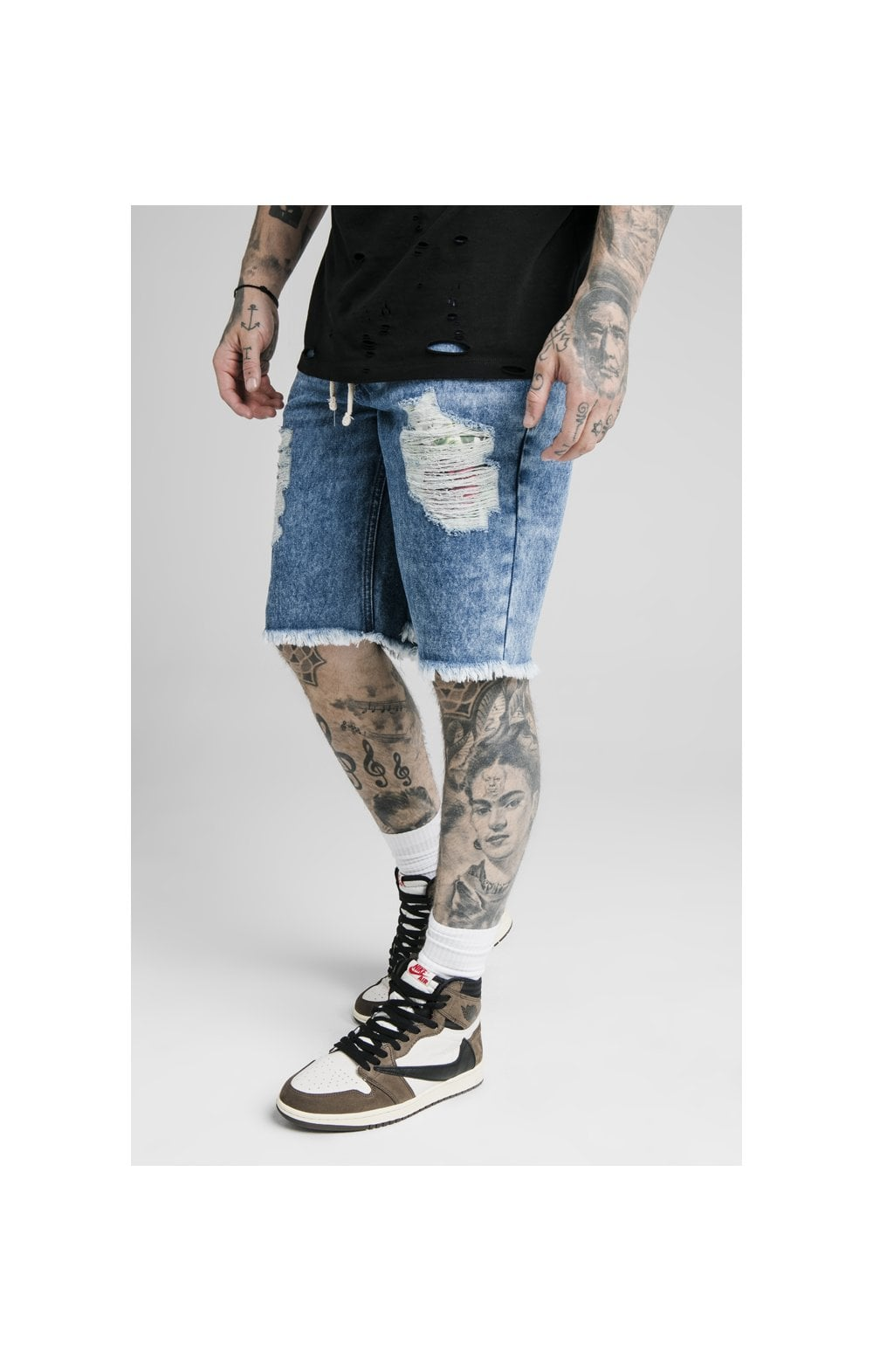 SikSilk Relaxed Floral Pixel Denim Shorts – Midstone