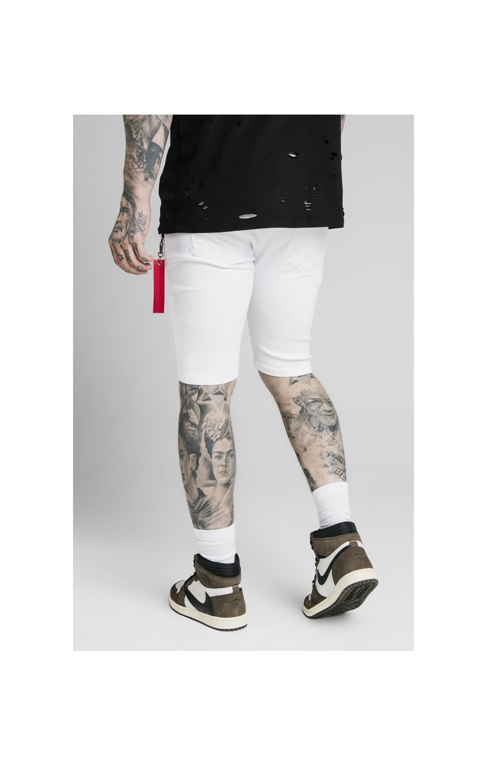 SikSilk Distressed Denim Flight Shorts - White (1)