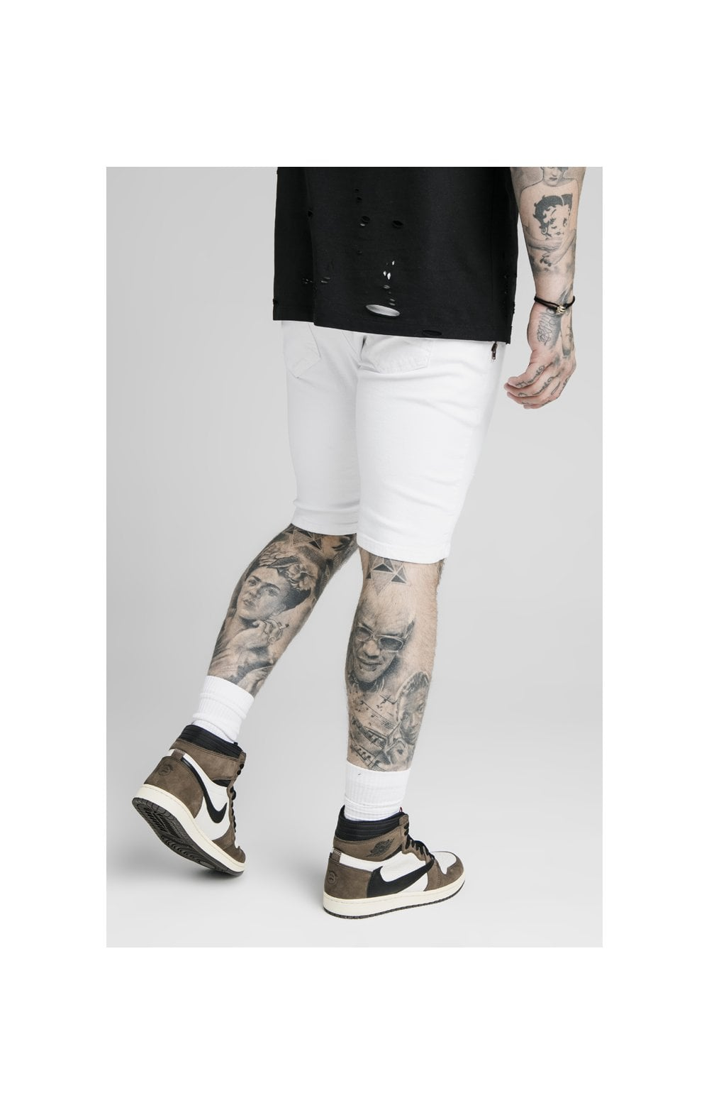 SikSilk Distressed Denim Flight Shorts - White (2)