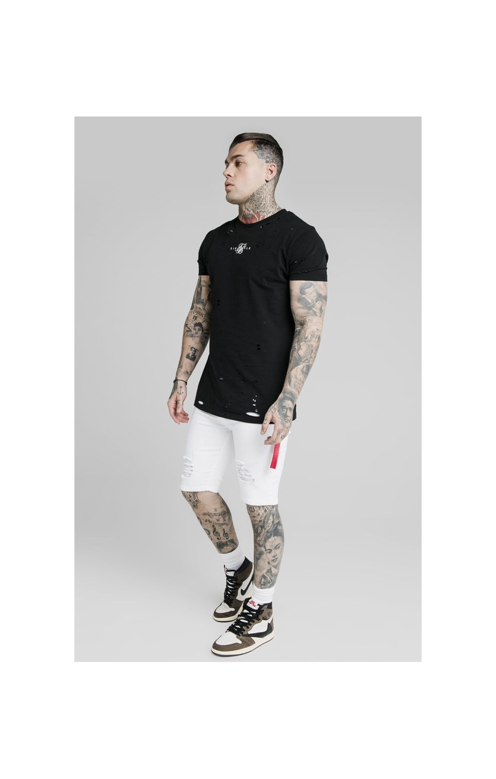 SikSilk Distressed Denim Flight Shorts - White (3)