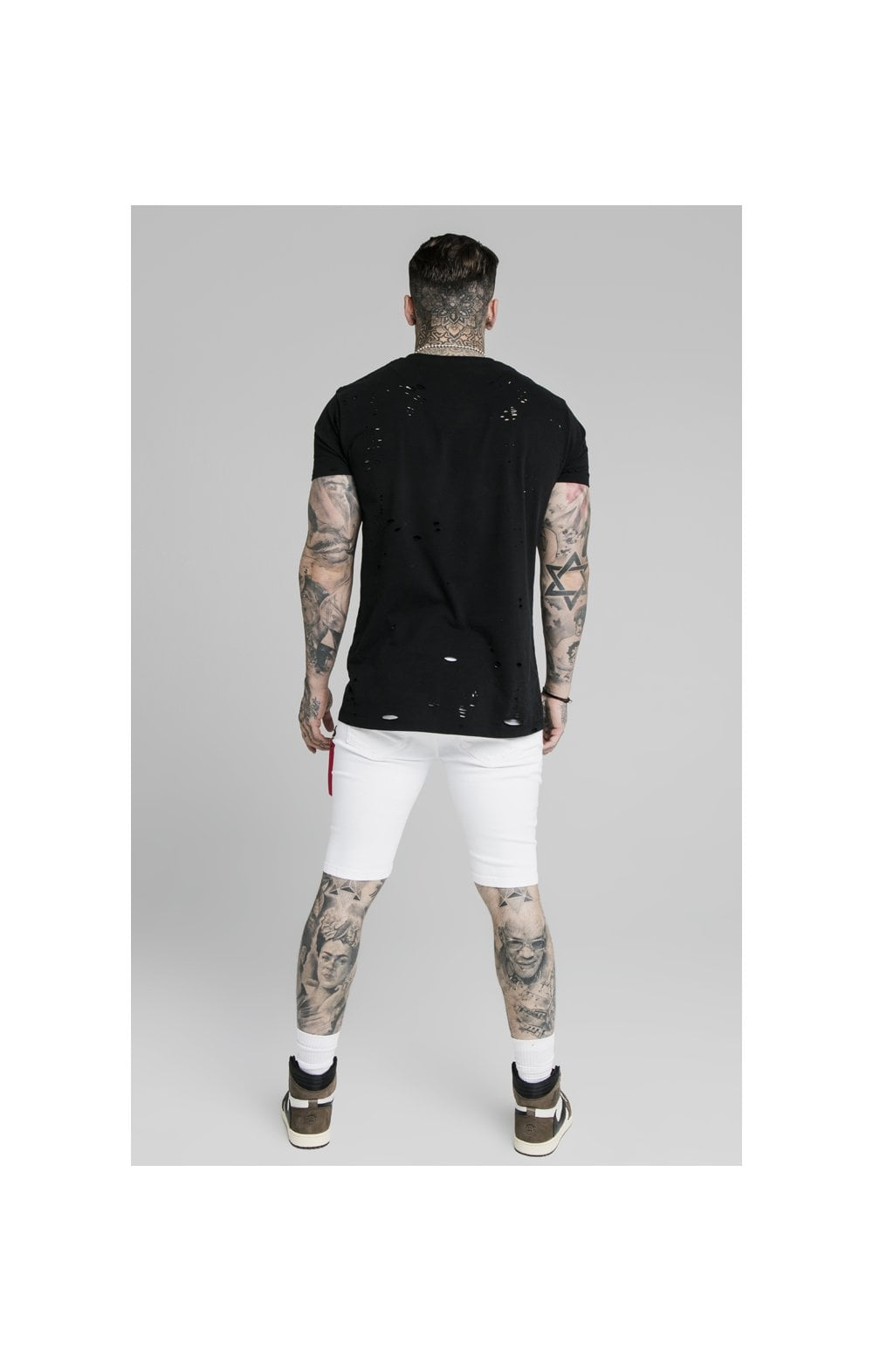 SikSilk Distressed Denim Flight Shorts - White (6)