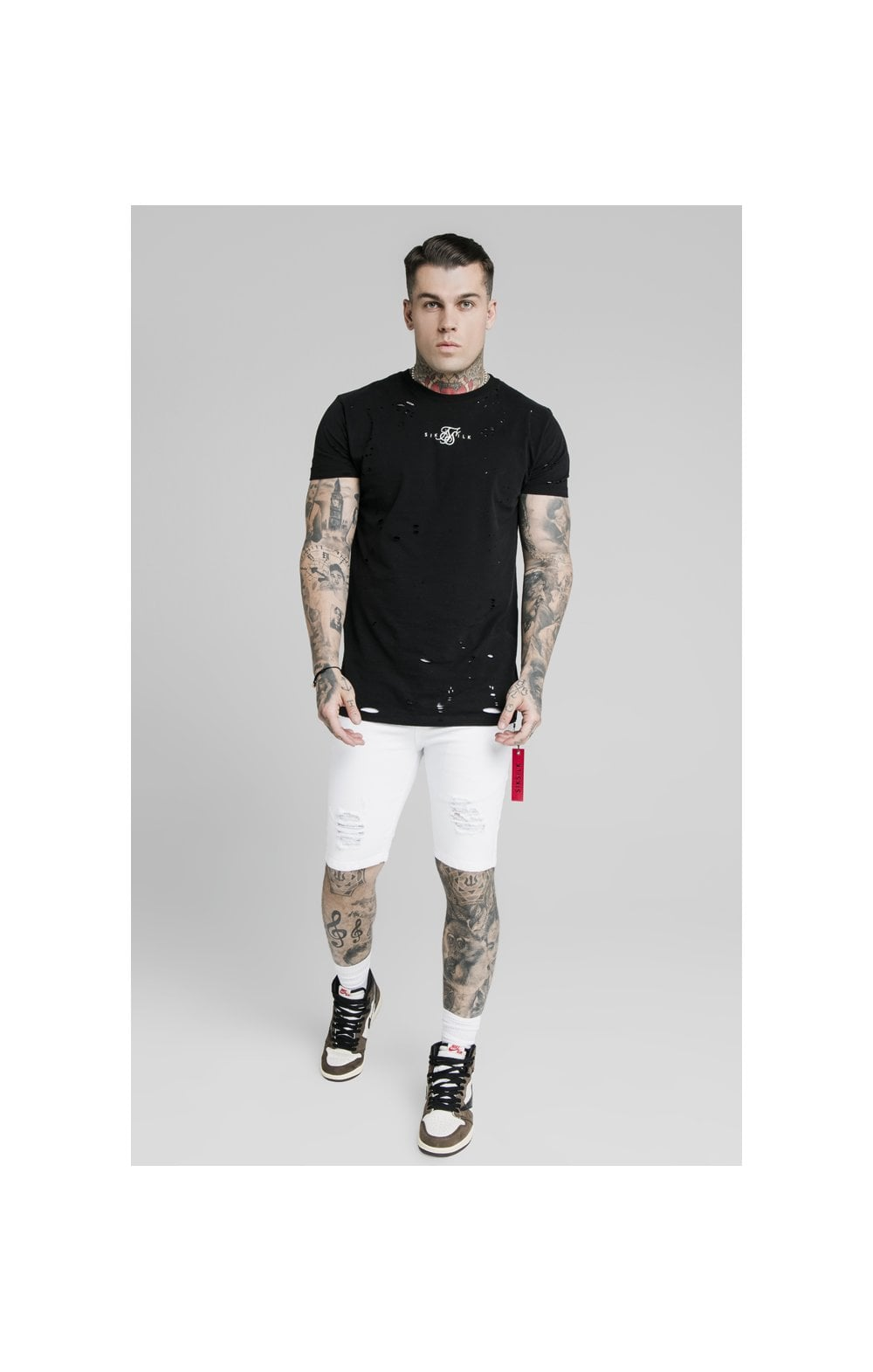 SikSilk Distressed Denim Flight Shorts - White (4)