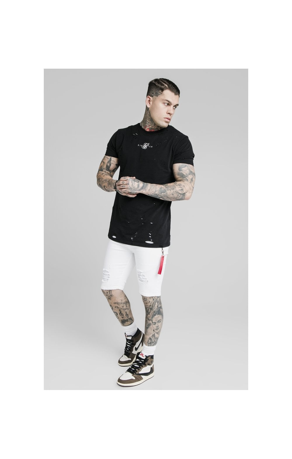 SikSilk Distressed Denim Flight Shorts - White (5)