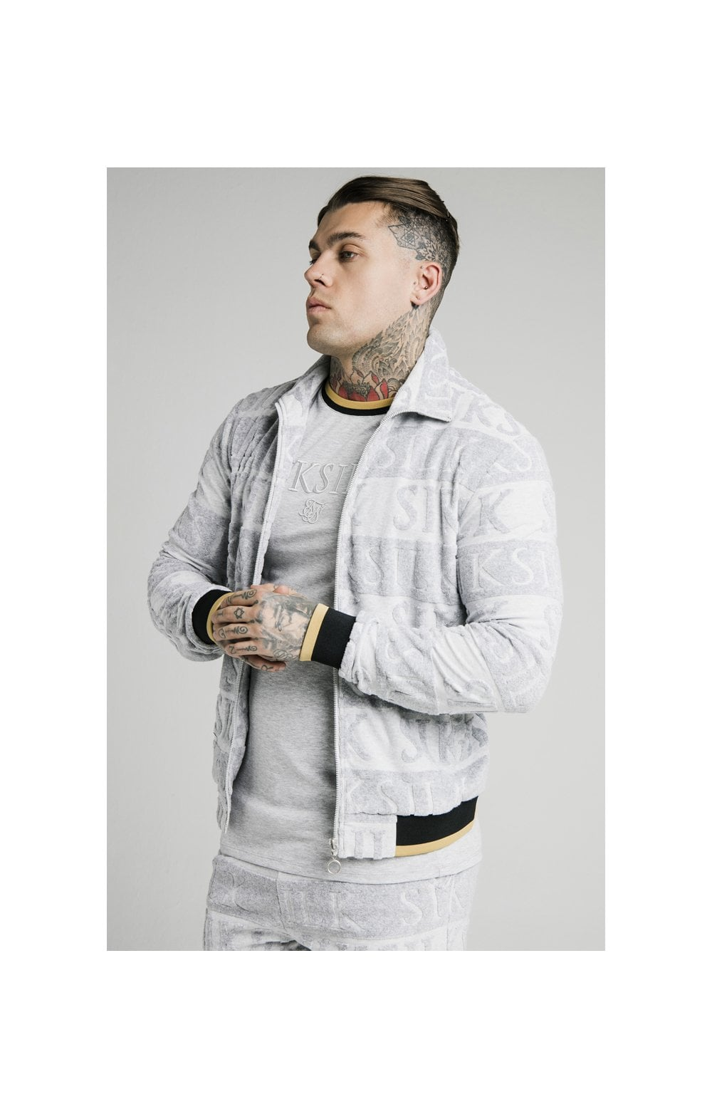 SikSilk Inverse High Neck Bomber - Grey, Black & Gold