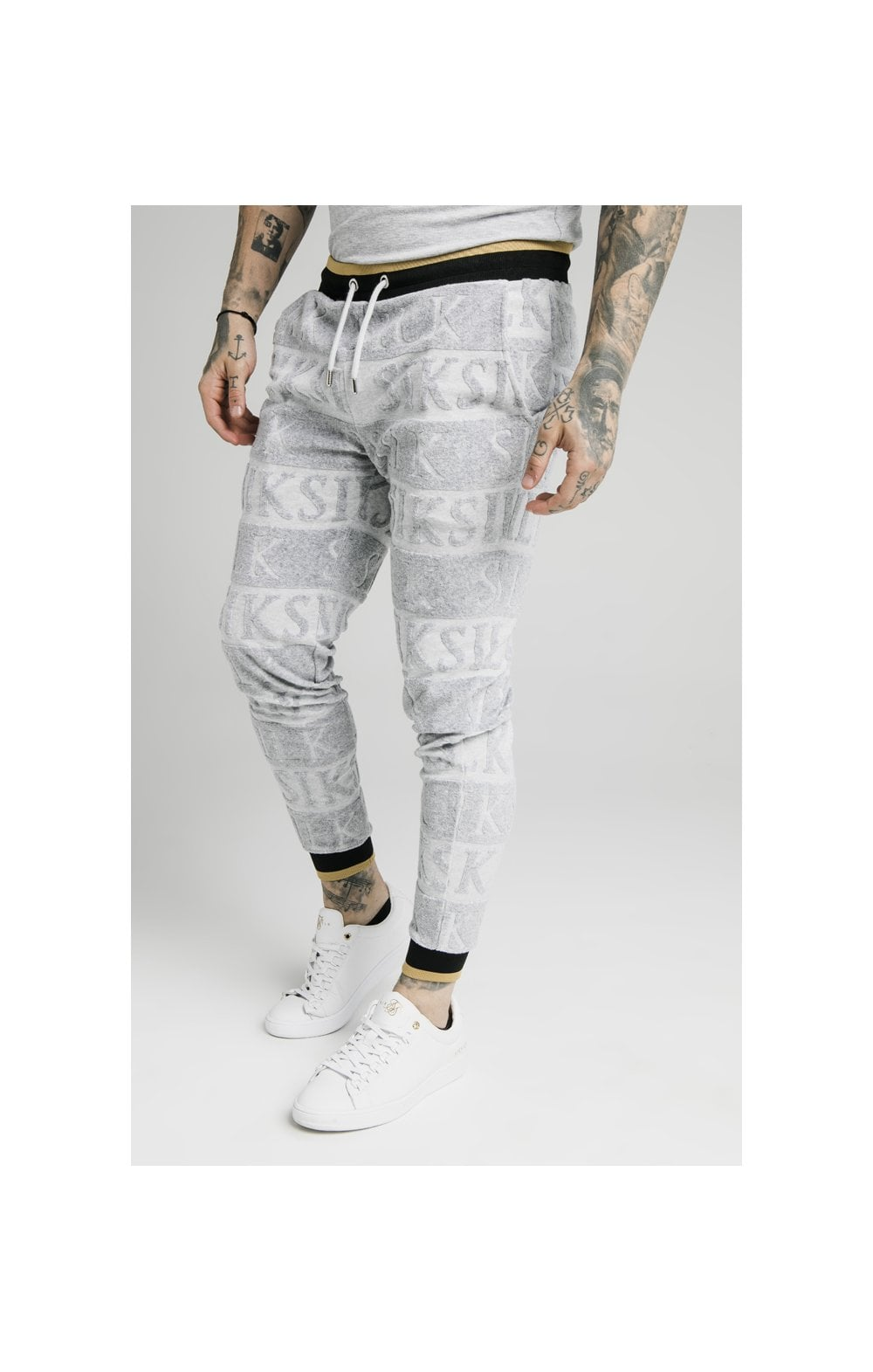 SikSilk Inverse Fitted Joggers - Grey, Black & Gold