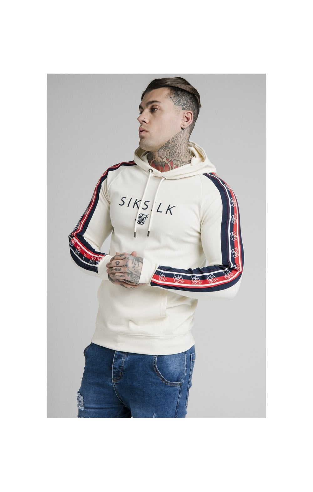 SikSilk Overhead Retro Tape Hoodie - Off White