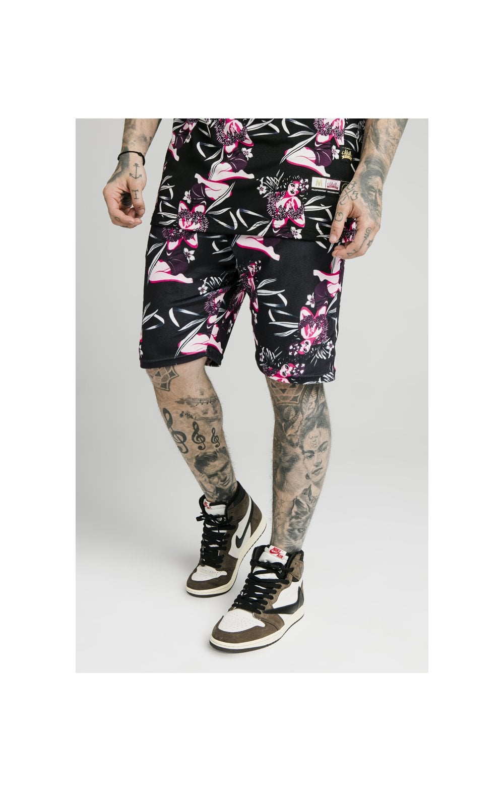 SikSilk Tropics Fitted Shorts - Black & Tropics