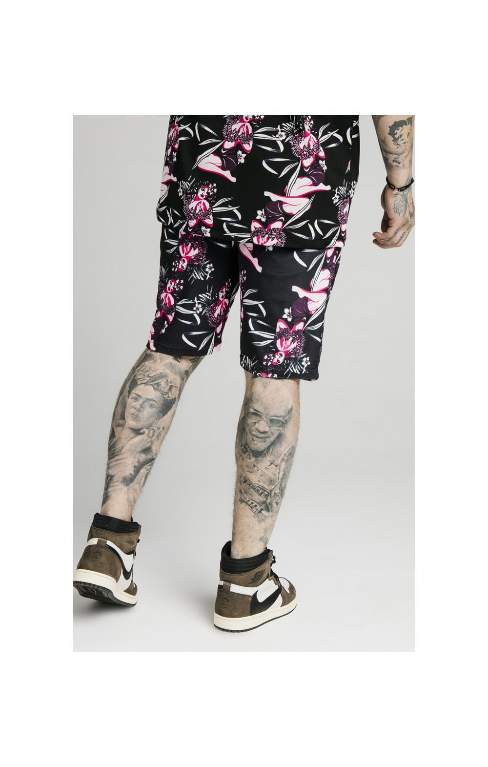 SikSilk Tropics Fitted Shorts - Black & Tropics (2)