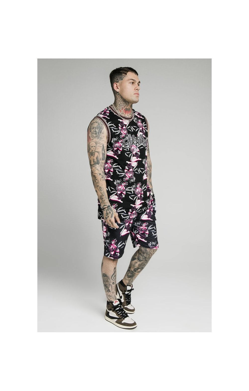 SikSilk Tropics Fitted Shorts - Black & Tropics (3)