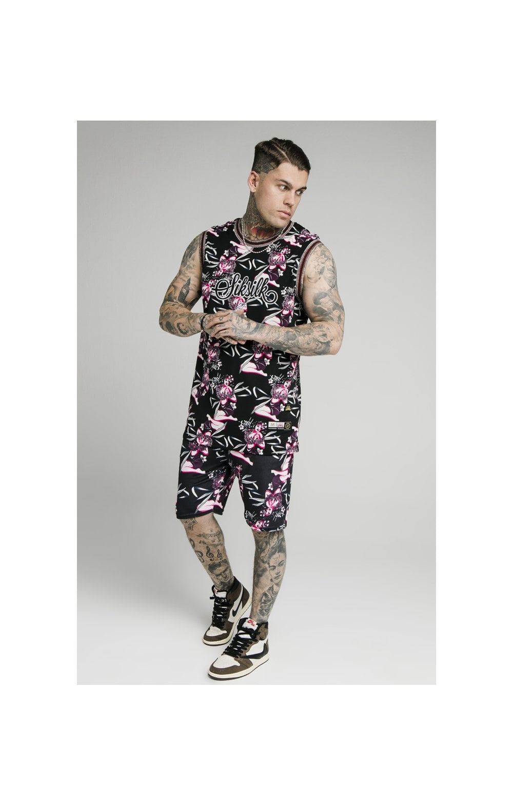 SikSilk Tropics Fitted Shorts - Black & Tropics (5)