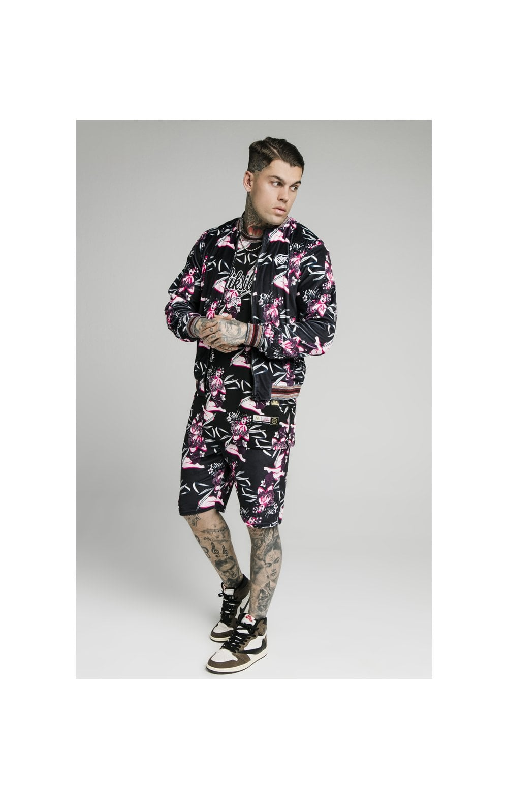 Load image into Gallery viewer, SikSilk Velour Tropics Bomber - Black & Tropics (2)