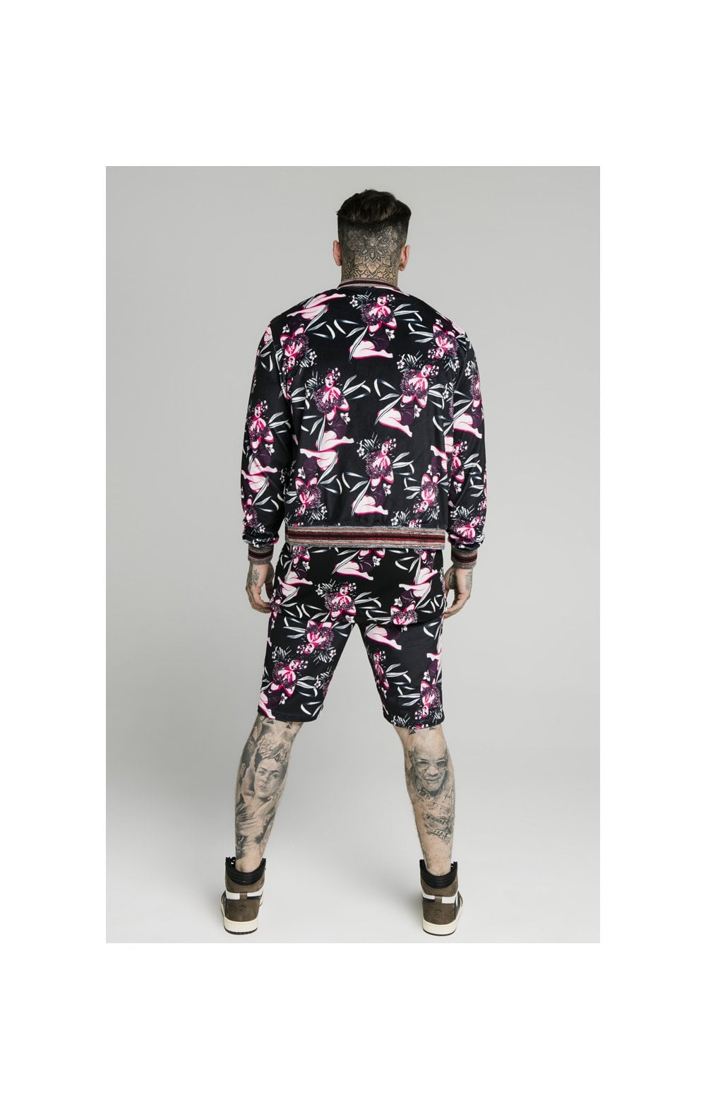 Load image into Gallery viewer, SikSilk Velour Tropics Bomber - Black & Tropics (3)