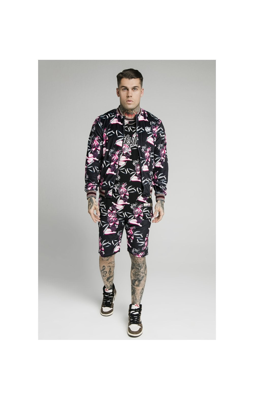 Load image into Gallery viewer, SikSilk Velour Tropics Bomber - Black & Tropics (4)