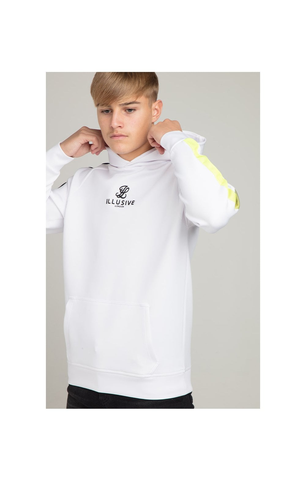 Load image into Gallery viewer, Illusive London Fade Panel Overhead Hoodie - White (1)