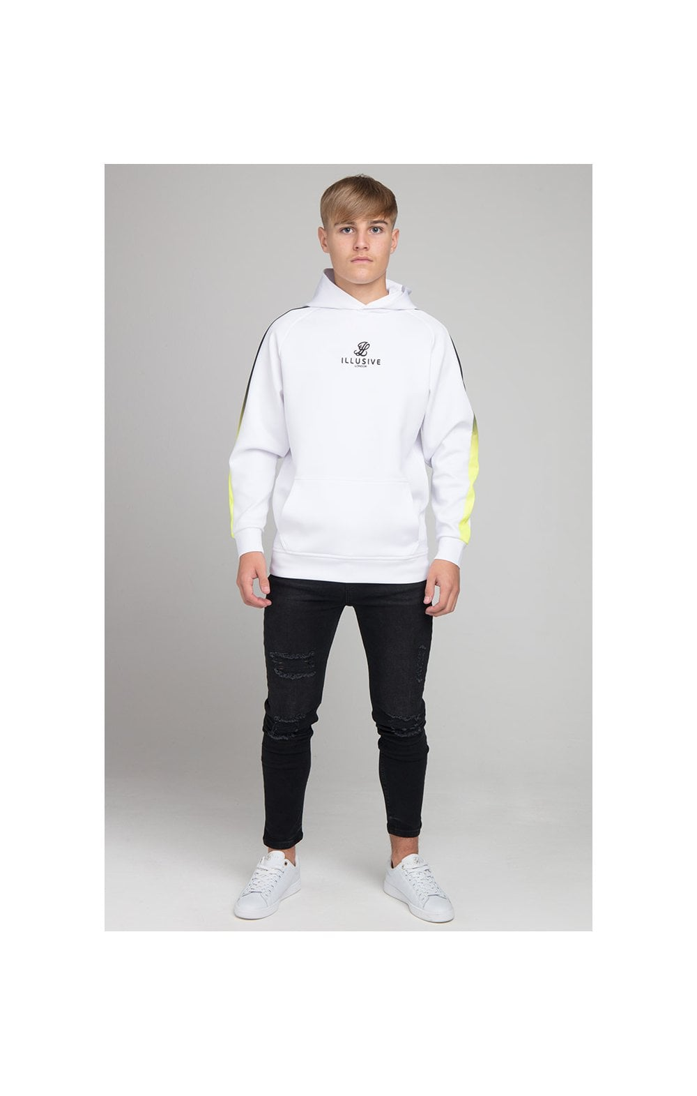 Load image into Gallery viewer, Illusive London Fade Panel Overhead Hoodie - White (2)