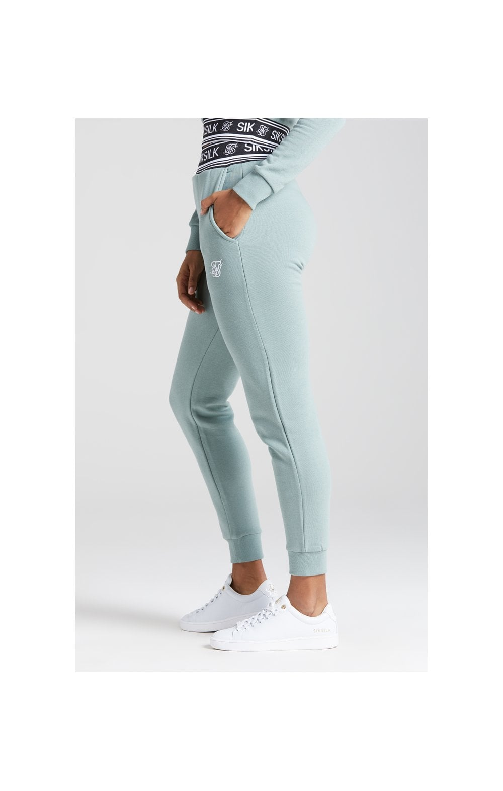 Load image into Gallery viewer, SikSilk Logo Ribbed Track Pant - Sage (2)