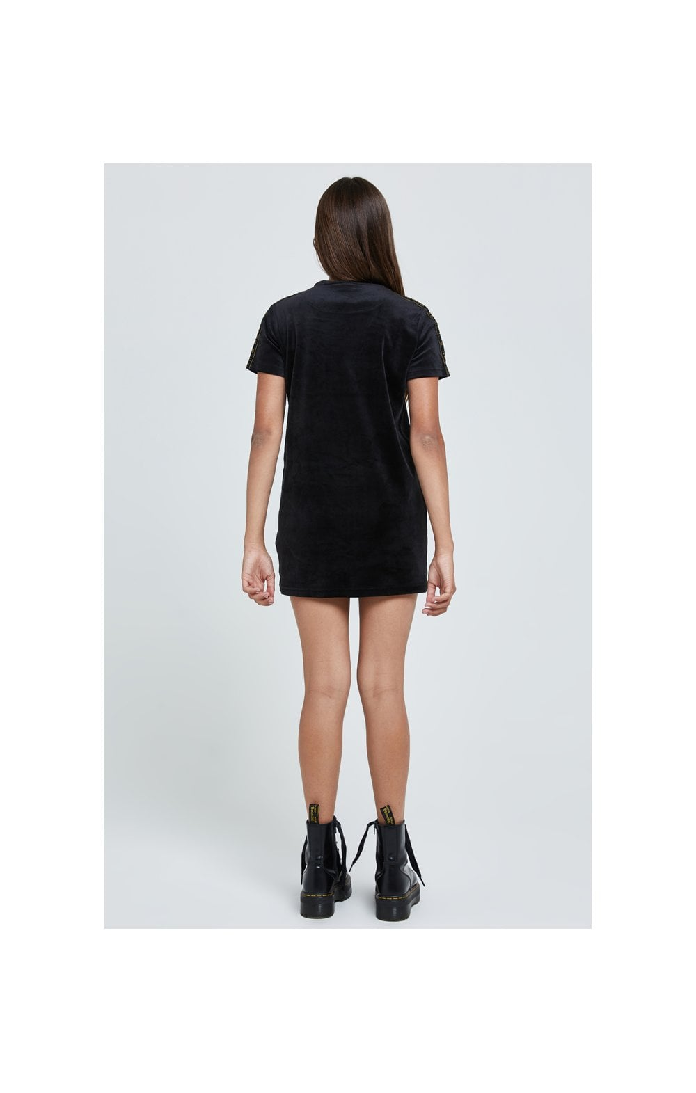 Illusive London Velour Tape Dress - Black (4)