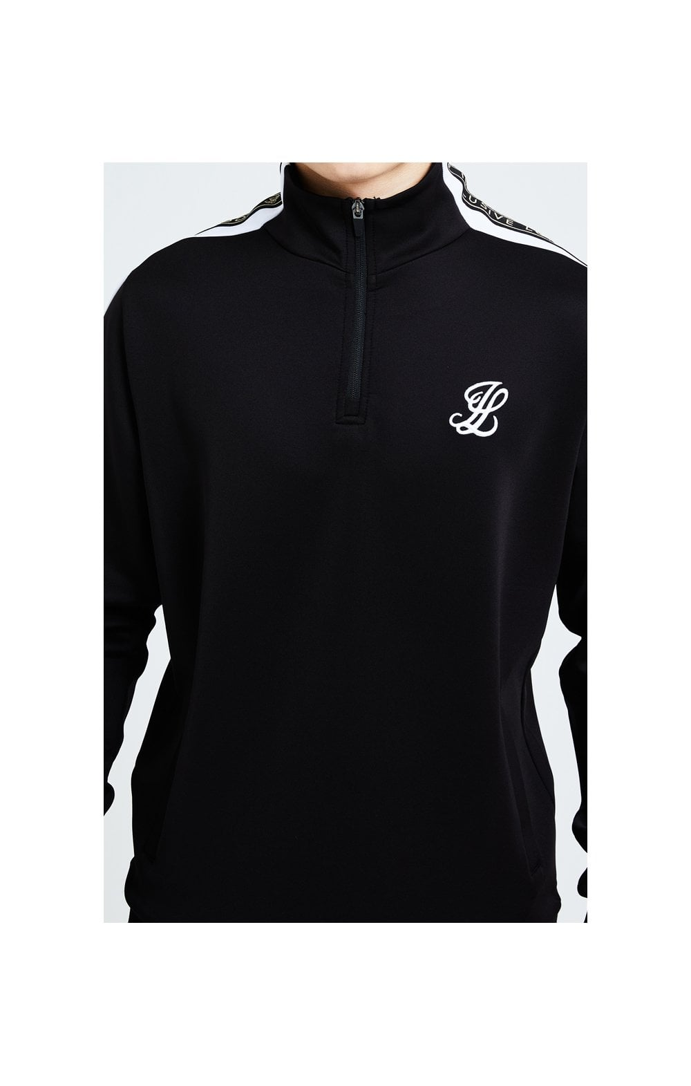 Load image into Gallery viewer, Illusive London Diverge 1/4 Zip Hoodie Black Gold & White