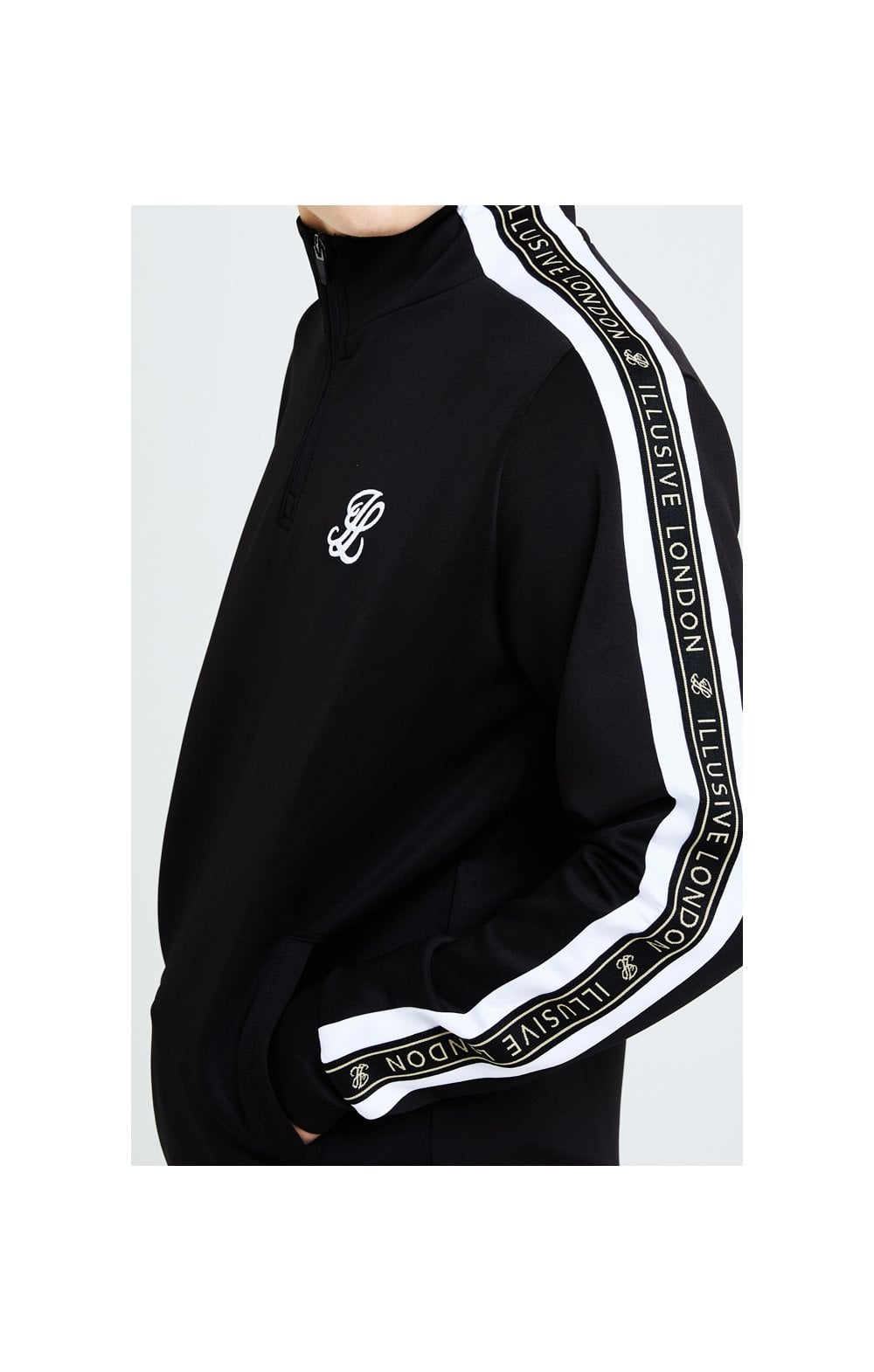 Load image into Gallery viewer, Illusive London Diverge 1/4 Zip Hoodie Black Gold & White (4)