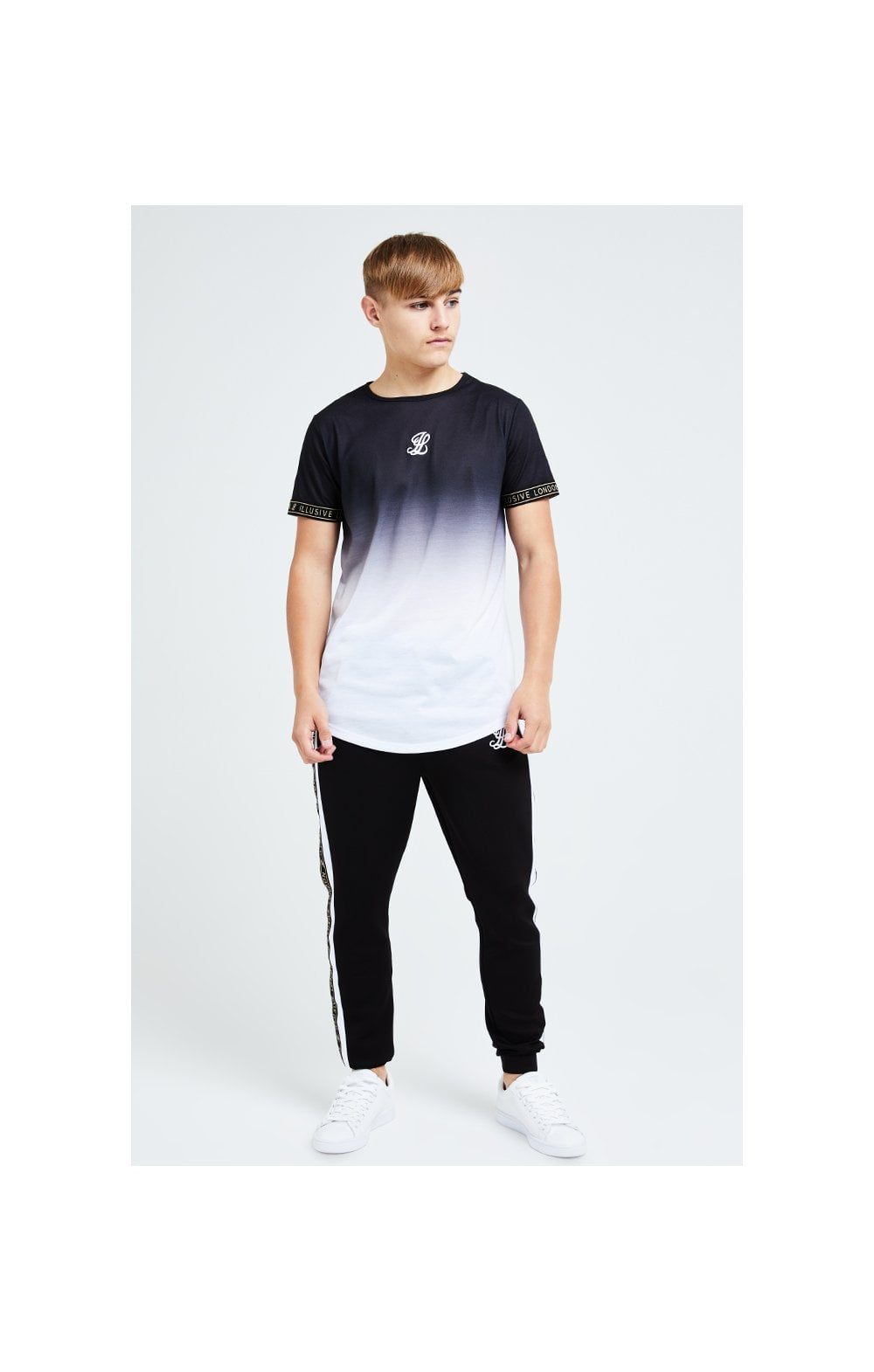Load image into Gallery viewer, Illusive London Diverge Fade Tech Tee - Black Gold & White (2)