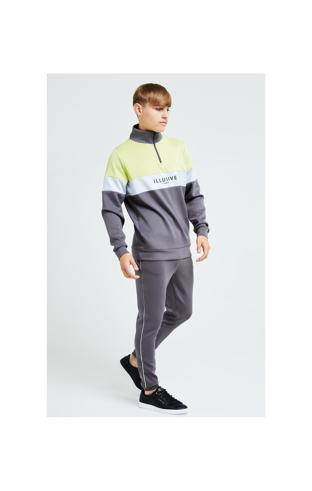 Load image into Gallery viewer, Illusive London Blaze Quarter Zip Hoodie - Dark Grey & Lime (2)