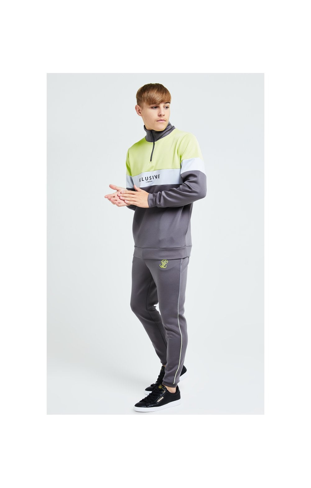 Load image into Gallery viewer, Illusive London Blaze Quarter Zip Hoodie - Dark Grey & Lime (3)