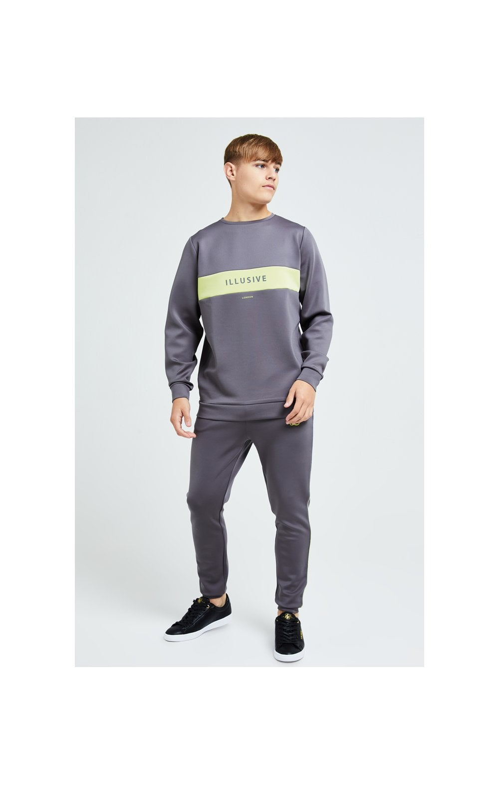 Load image into Gallery viewer, Illusive London Blaze Crew Sweater - Dark Grey & Lime (2)