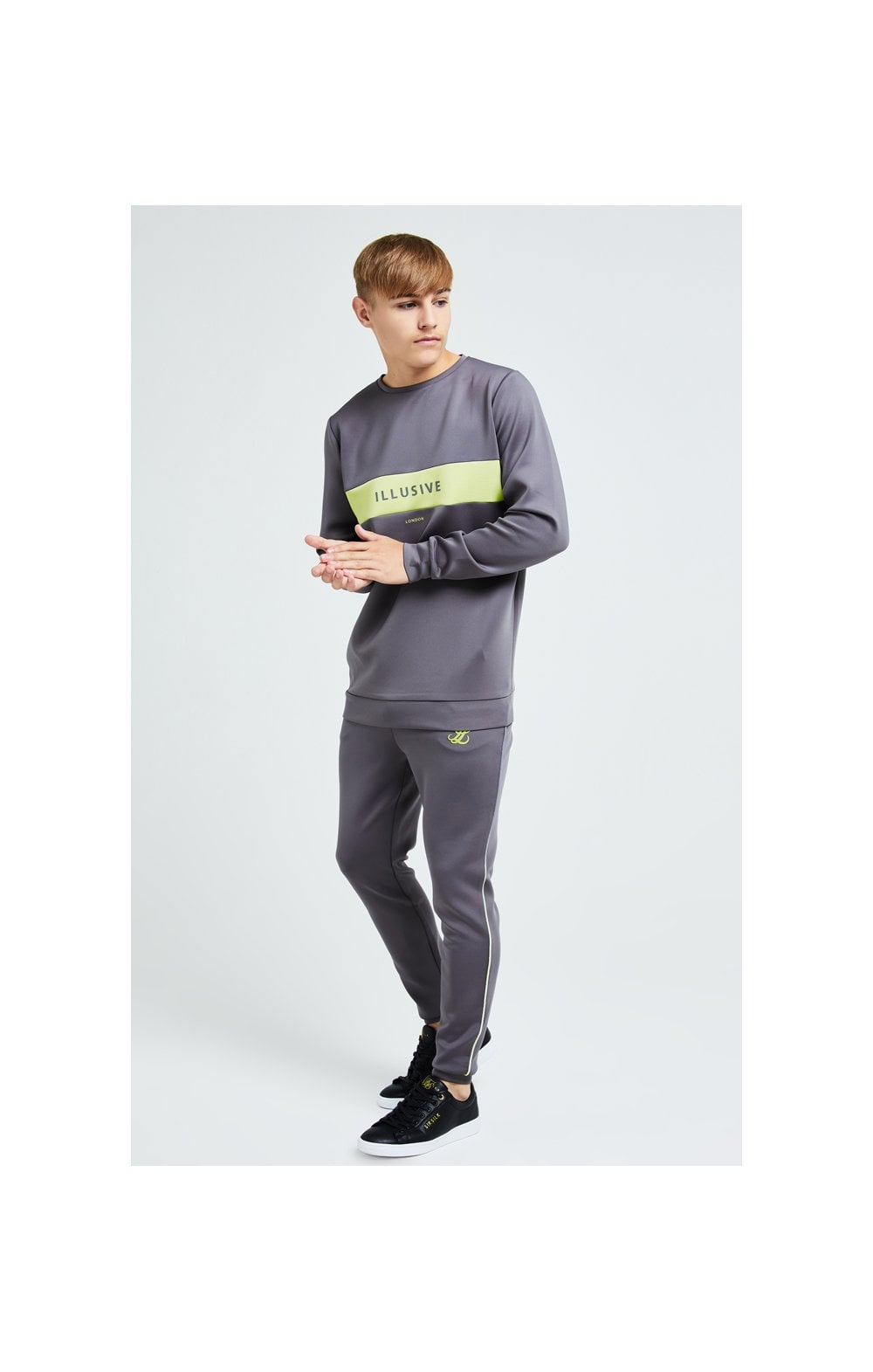 Load image into Gallery viewer, Illusive London Blaze Crew Sweater - Dark Grey & Lime (3)