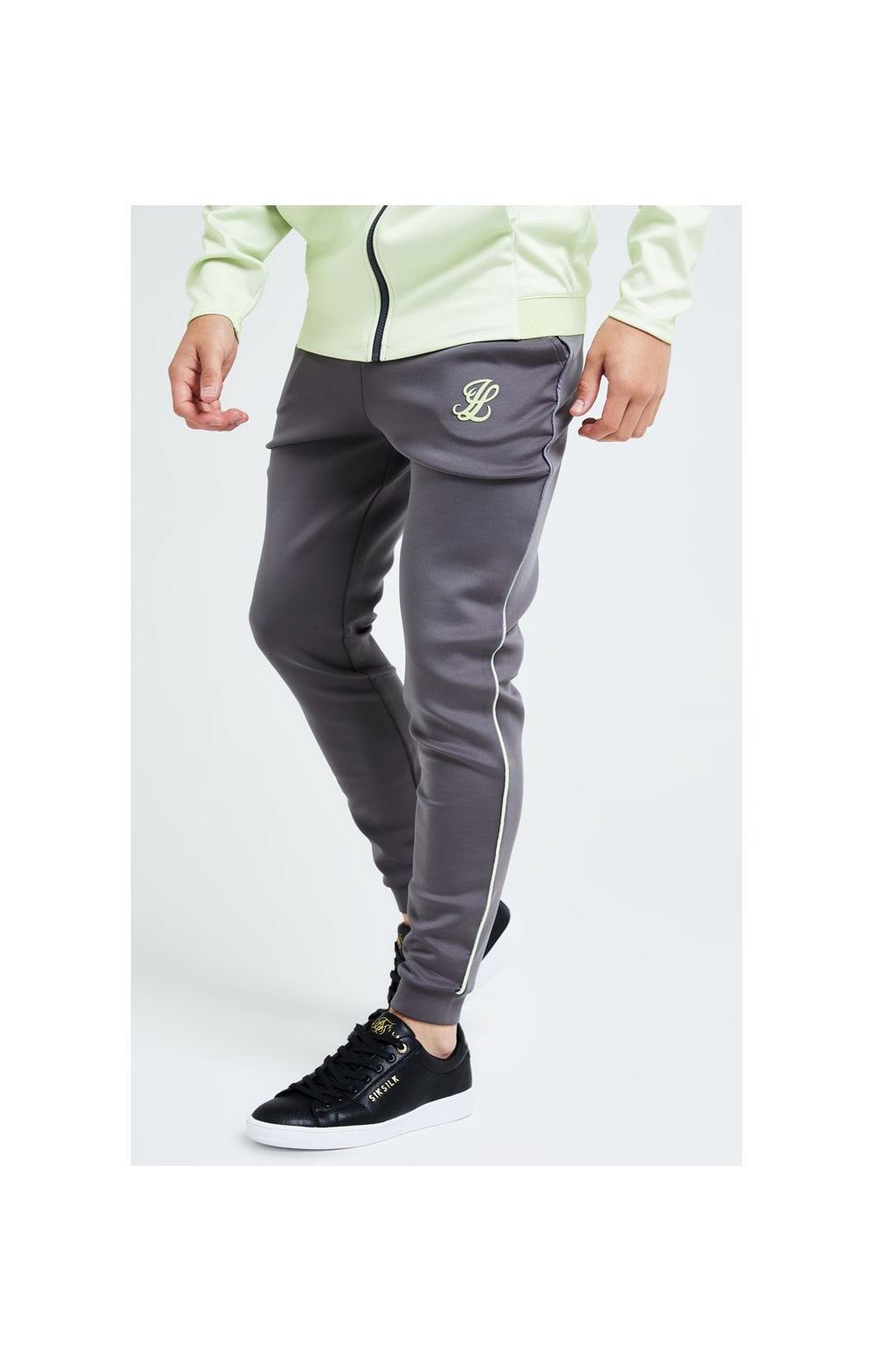 Illusive London Blaze Fade Piping Jogger - Dark Grey & Lime