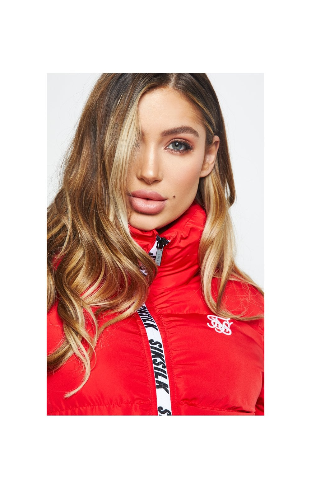 SikSilk Padded Crop Jacket - Red (1)