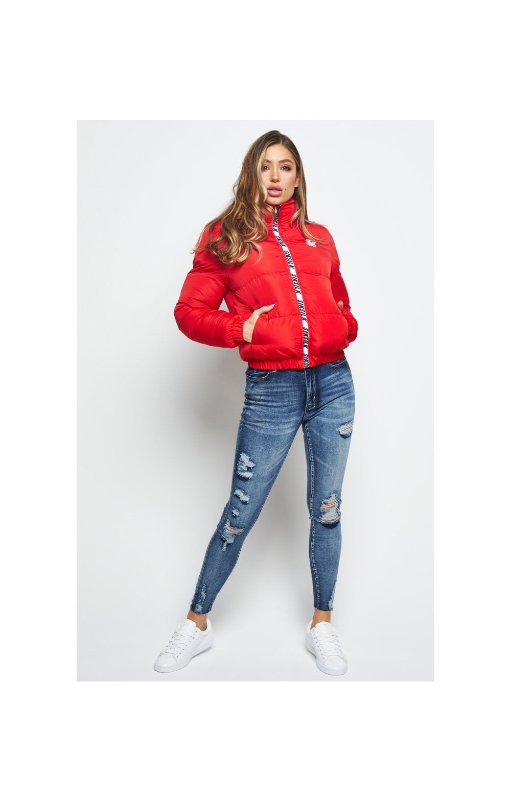 SikSilk Padded Crop Jacket - Red (2)