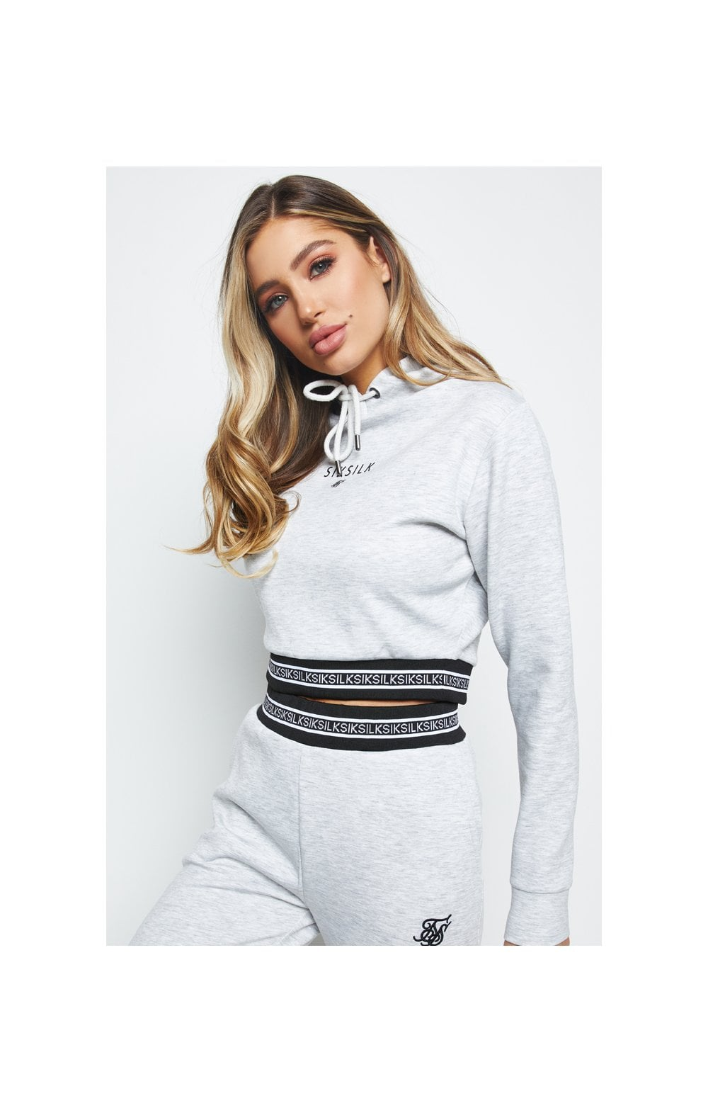 SikSilk Element Cropped Hoodie - Grey Marl (1)