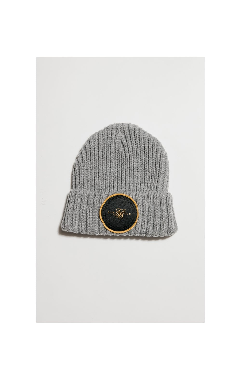 Load image into Gallery viewer, SikSilk Rib Cuff Beanie - Grey Marl & Gold