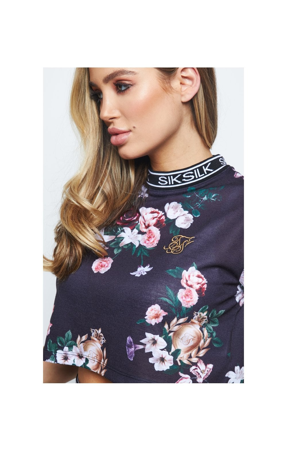 SikSilk Prestige Floral Box Tee - Black