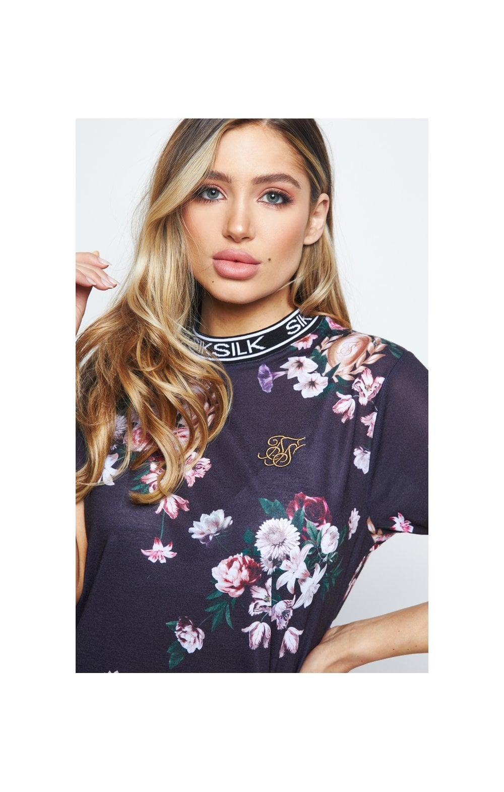 Load image into Gallery viewer, SikSilk Prestige Floral Tee Dress – Black