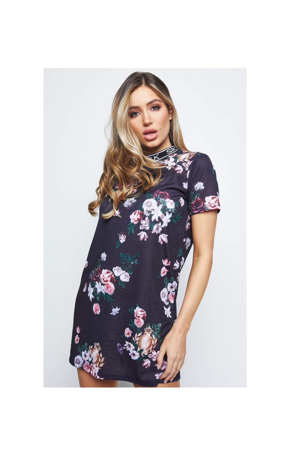 Load image into Gallery viewer, SikSilk Prestige Floral Tee Dress – Black (1)