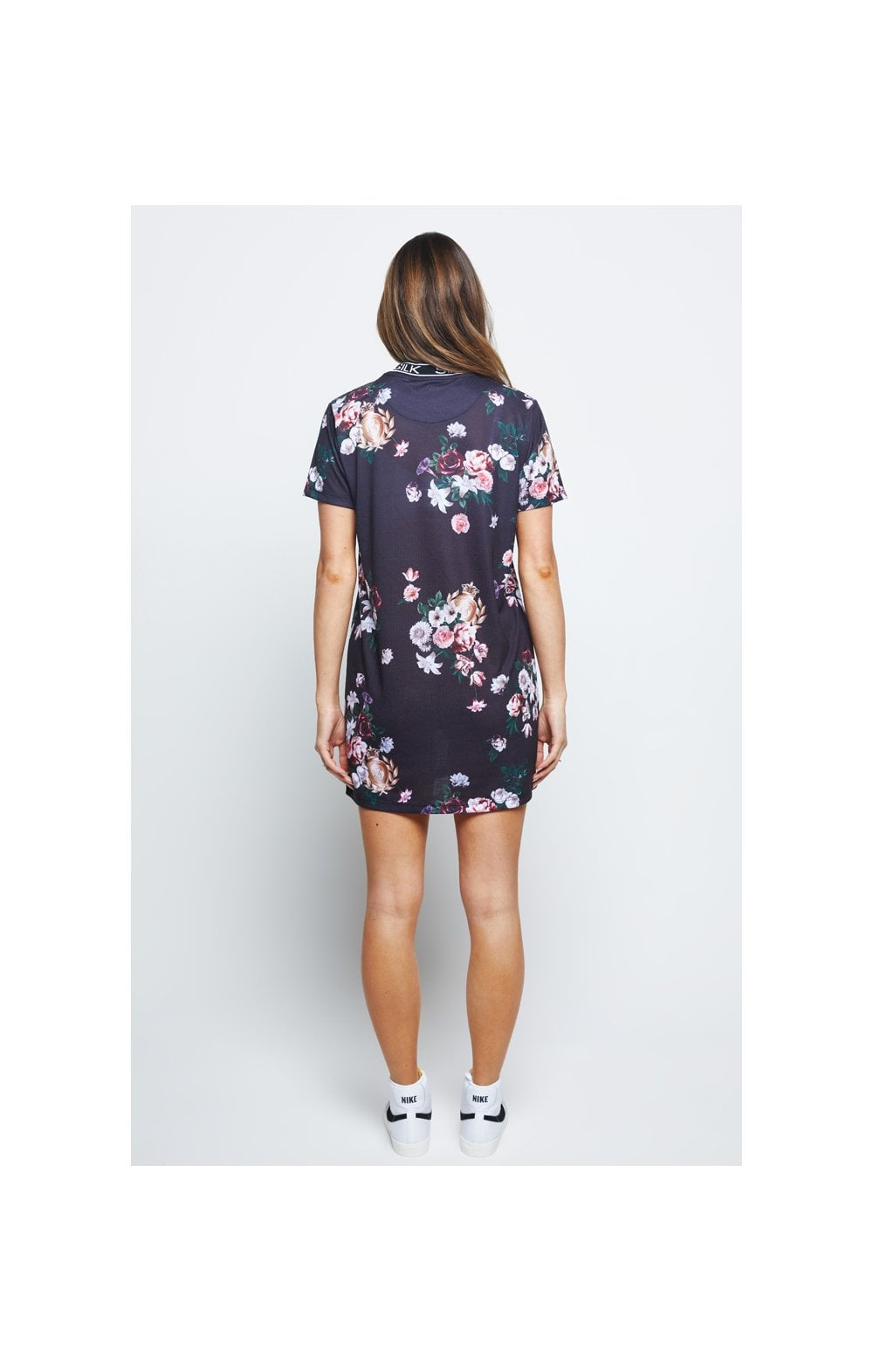 Load image into Gallery viewer, SikSilk Prestige Floral Tee Dress – Black (3)