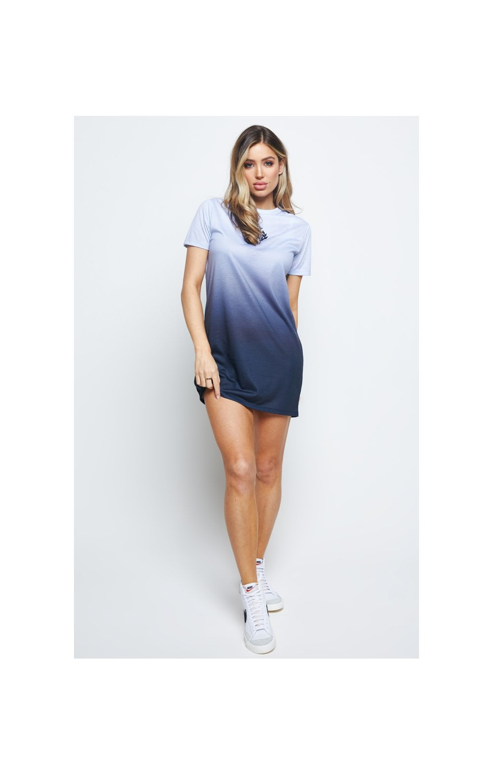 SikSilk Gravity Fade Tee Dress - Navy & Grey (2)