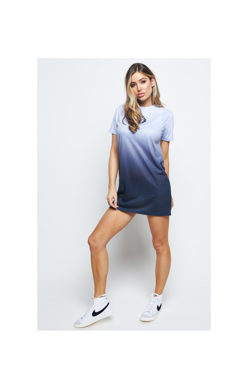SikSilk Gravity Fade Tee Dress - Navy & Grey (6)
