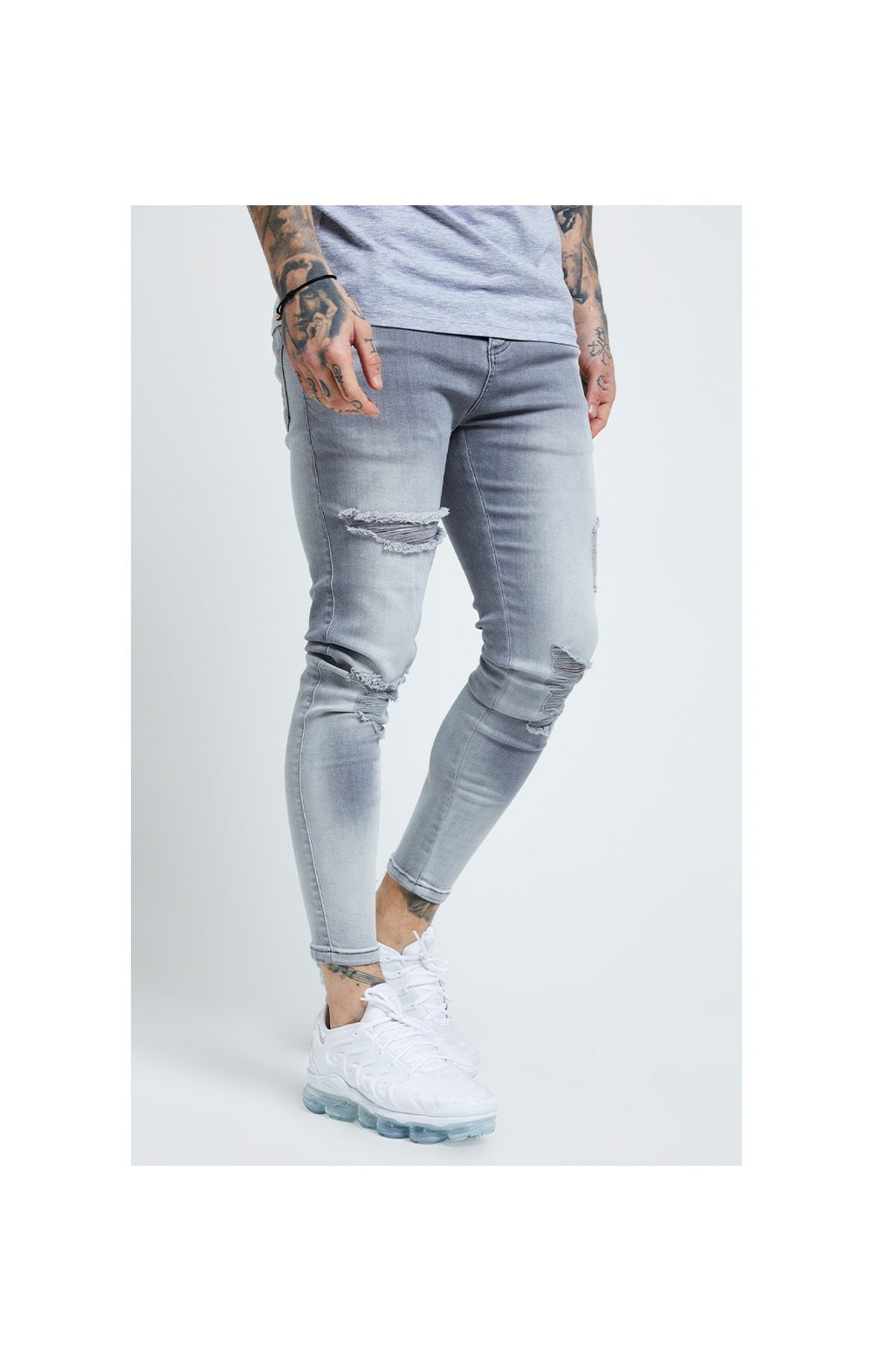 SikSilk Distressed Skinny Jeans – Washed Grey (1)