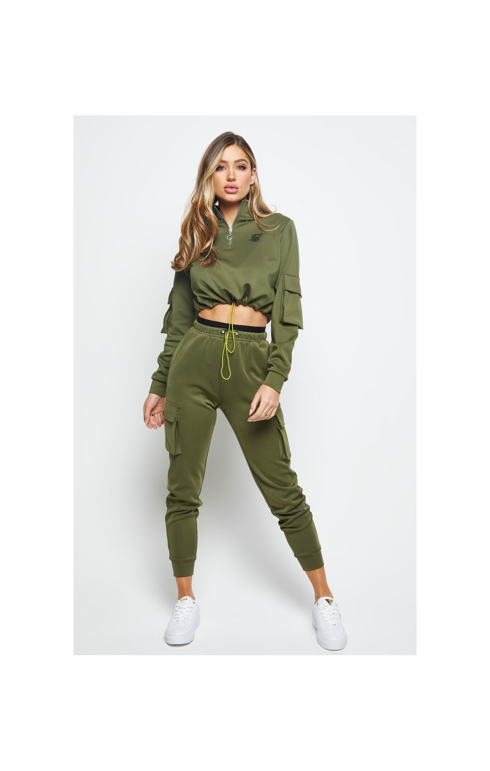 Load image into Gallery viewer, SikSilk Cargo Pocket Track Top - Khaki (3)