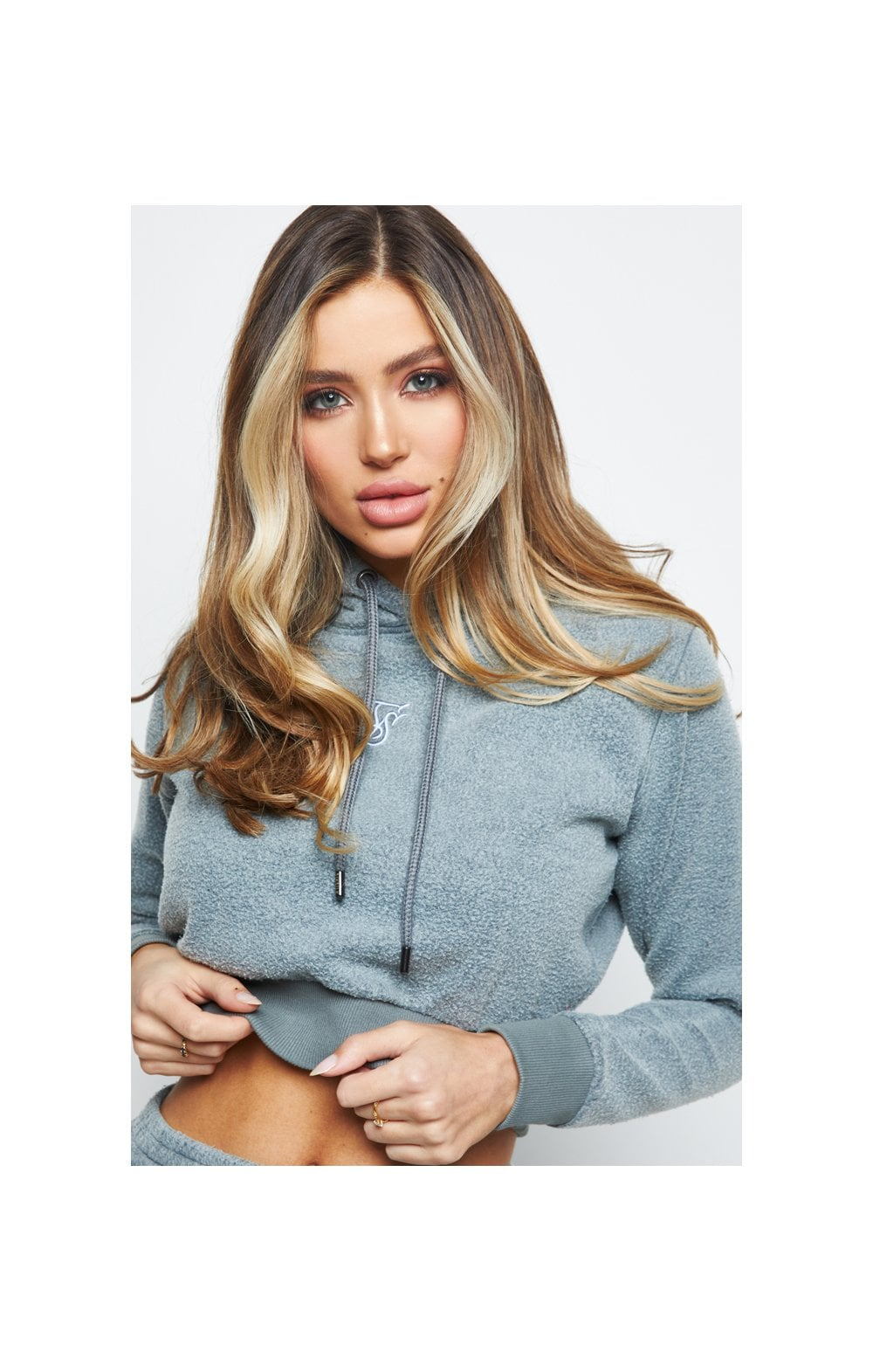 SikSilk Brushed Cropped Hoodie - Washed Grey
