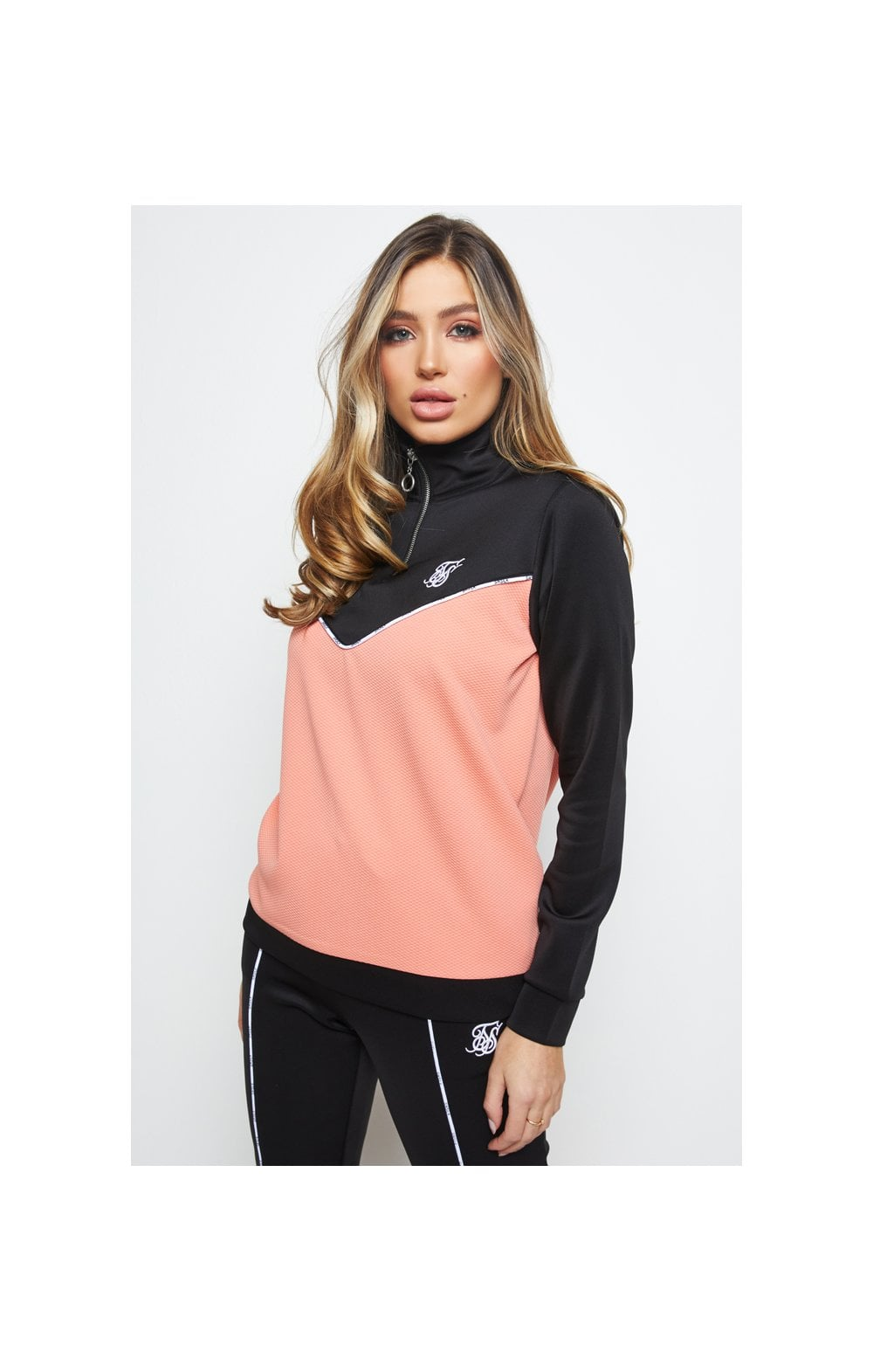 SikSilk Duality Quarter Zip Track Top - Black & Coral (1)