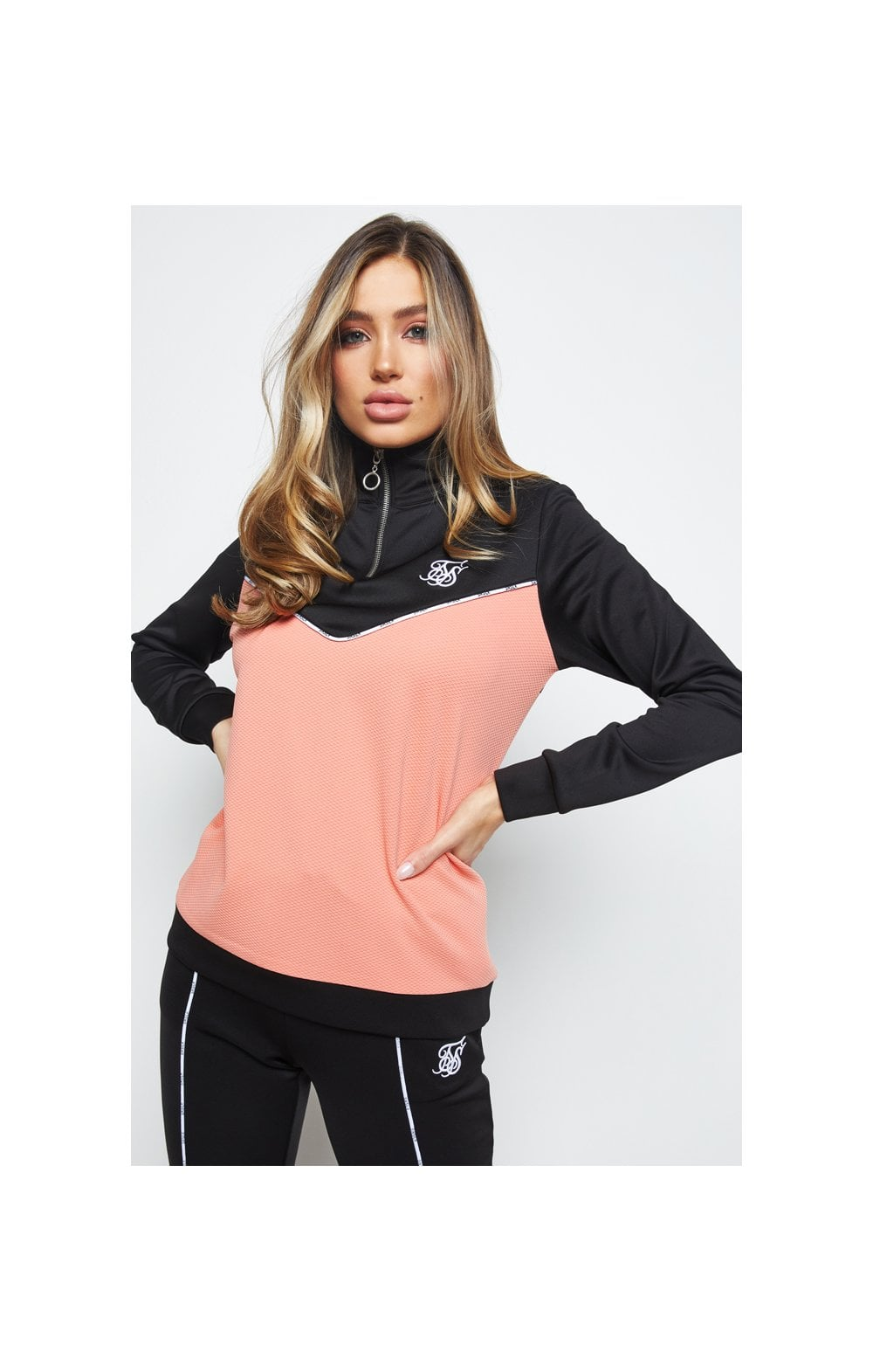 SikSilk Duality Quarter Zip Track Top - Black & Coral (2)