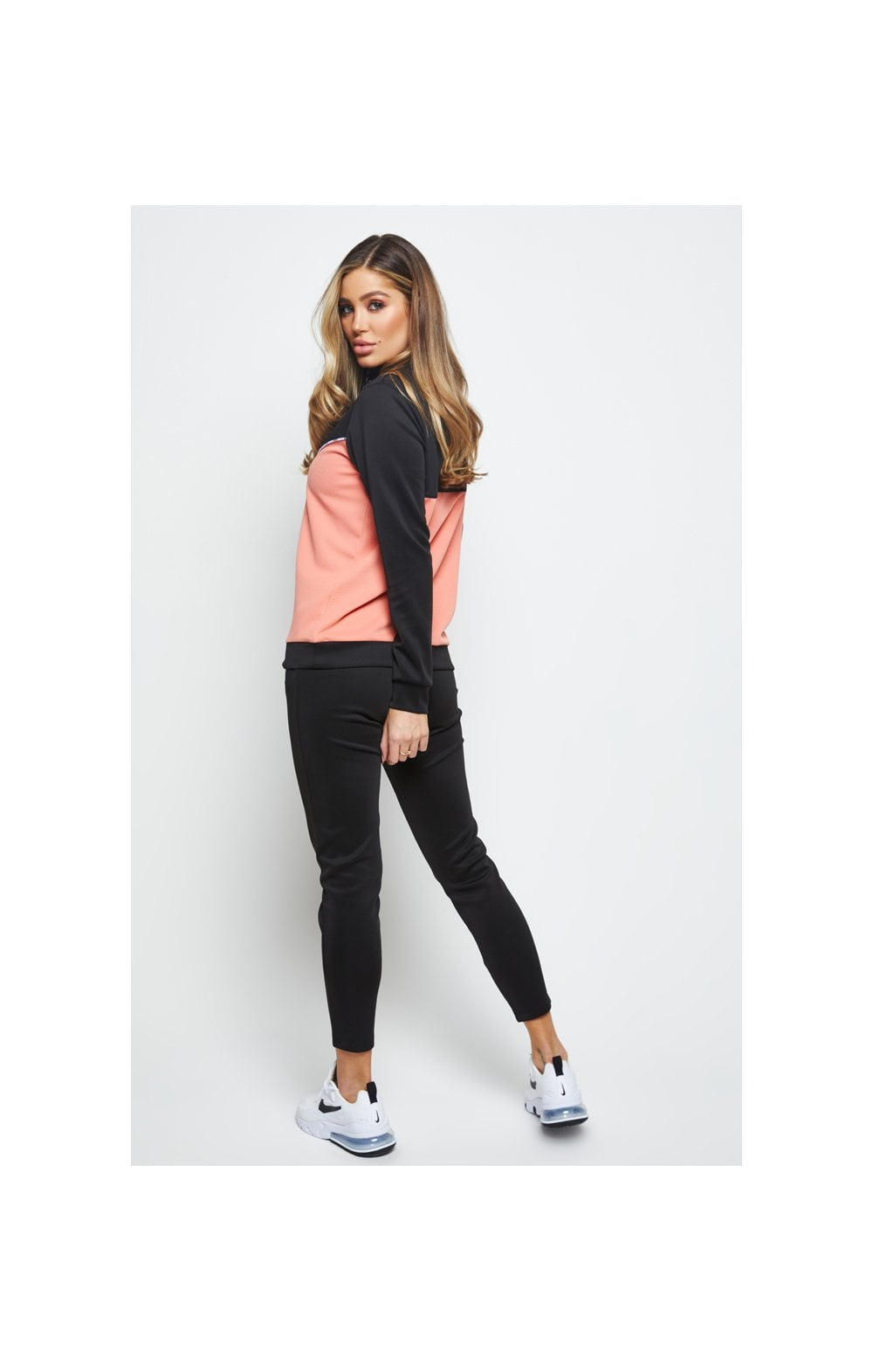 SikSilk Duality Quarter Zip Track Top - Black & Coral (5)